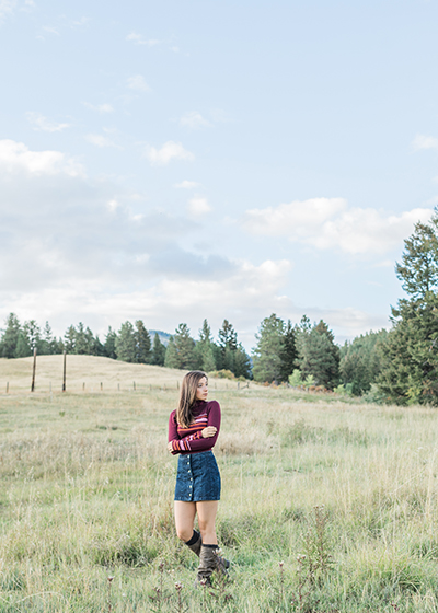 Olivine Fox Bozeman Montana senior portrait photographer fall senior pictures