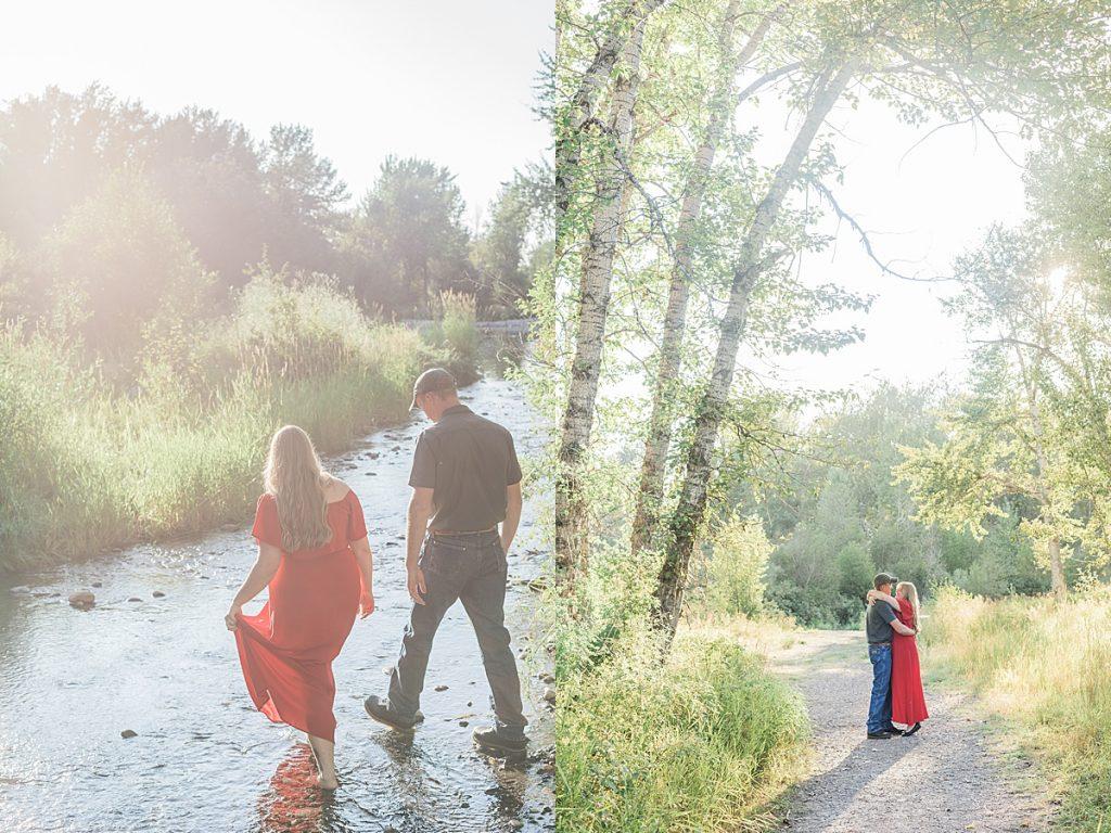Olivine Fox - Firelight Farm Engagement Session - Bozeman Montana Wedding Photographer - Bozeman Montana Engagment Session - Bozeman Wedding Venue - Montana Barn Wedding - creekside