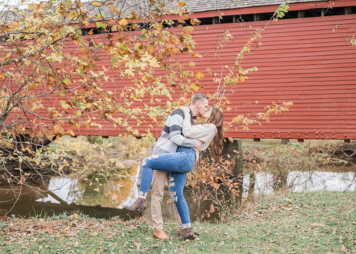 Olivine Fox - Loys Station Covered Bridge - Thurmont Maryland - Frederick County - Country Anniversary Session - Fall Couples Session - Creekside