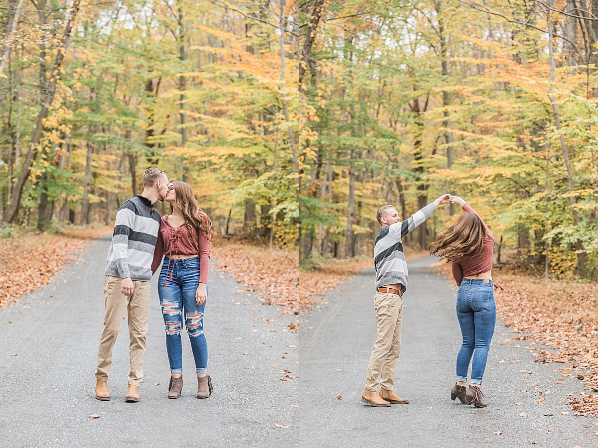 Olivine Fox - Thurmont Maryland Couples Session - Fall - Catoctin Mountains - Frederick County - Springfield Manor and Winery - Country Anniversary Session - Tree lined road - country road
