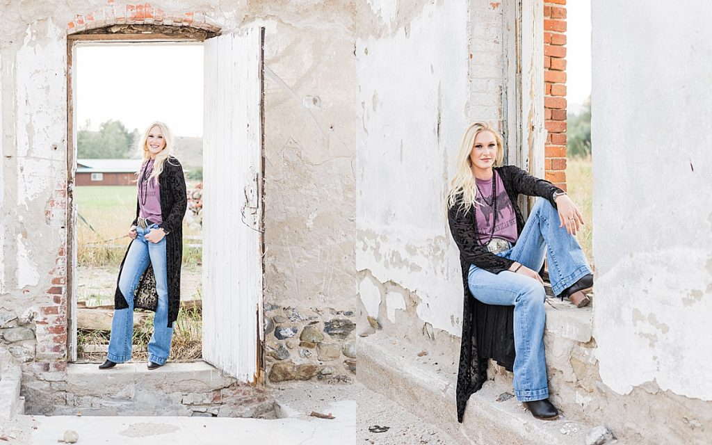 Olivine Fox - Kleffner Ranch - Miss Montana High School Rodeo Queen Senior Pictures - Summer Senior Pictures - Red Barn - Farm Senior Photos - Abandoned Building