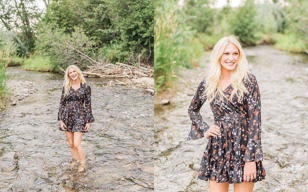 Olivine Fox - Kleffner Ranch - Miss Montana High School Rodeo Queen Senior Pictures - Summer Senior Pictures - Red Barn - Farm Senior Photos - Creek