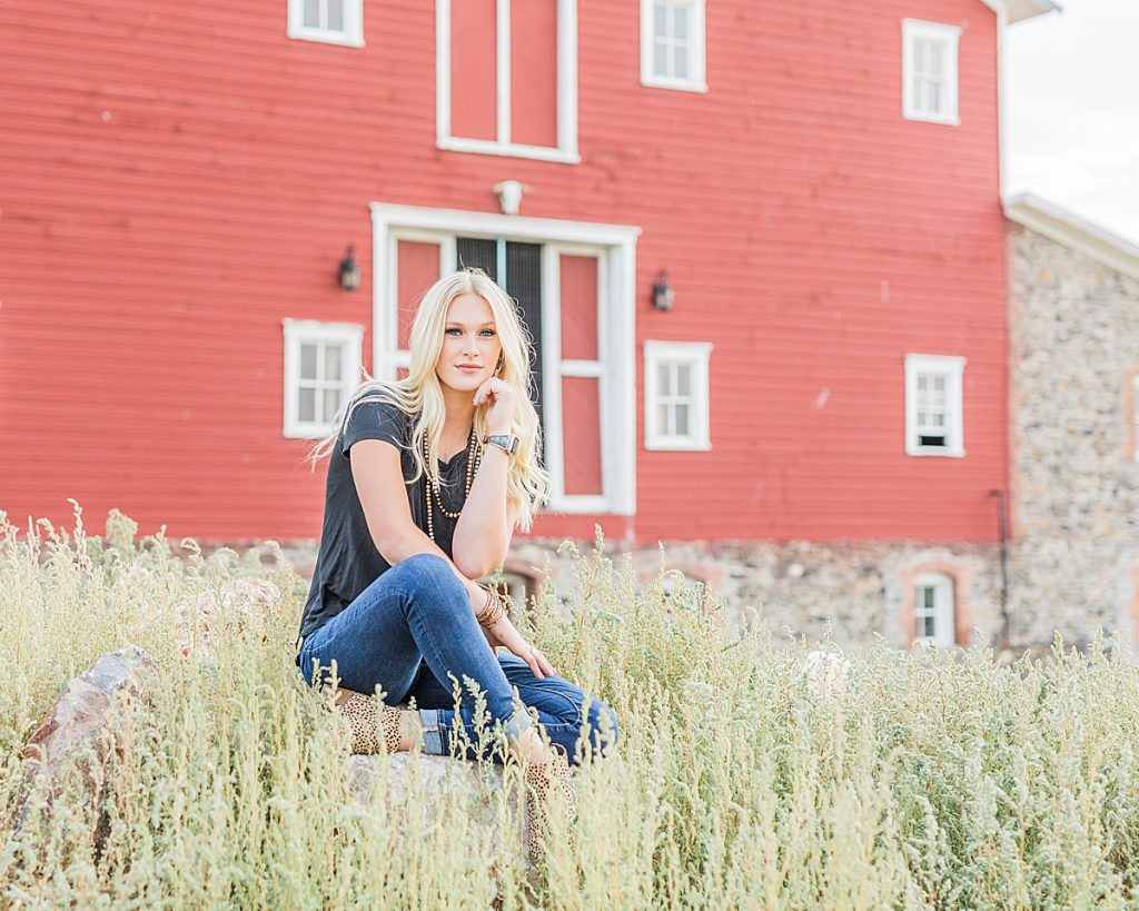 Olivine Fox - Kleffner Ranch - Miss Montana High School Rodeo Queen Senior Pictures - Summer Senior Pictures - Red Barn - Farm Senior Photos - Historic Red Barn