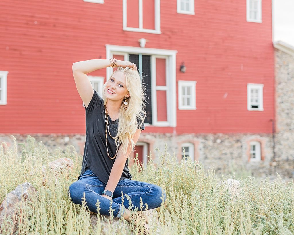 Olivine Fox - Kleffner Ranch - Miss Montana High School Rodeo Queen Senior Pictures - Summer Senior Pictures - Red Barn - Farm Senior Photos - Historic Red Barn - Country