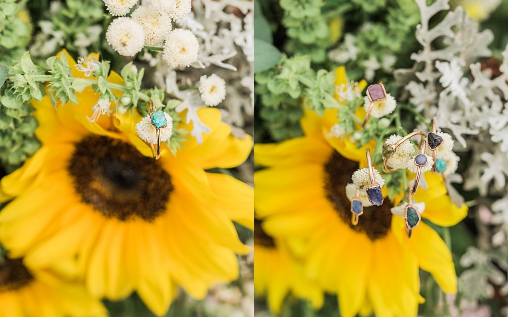 Cowans Gap State Park - Carlisle Pennsylvania Photographer - Central Pennsylvania Photographer - Sunflower Bouquet - Summer Outfits For Couples Photos - Raw Stacking Rings - Turquoise Stacking Ring - Sunflower