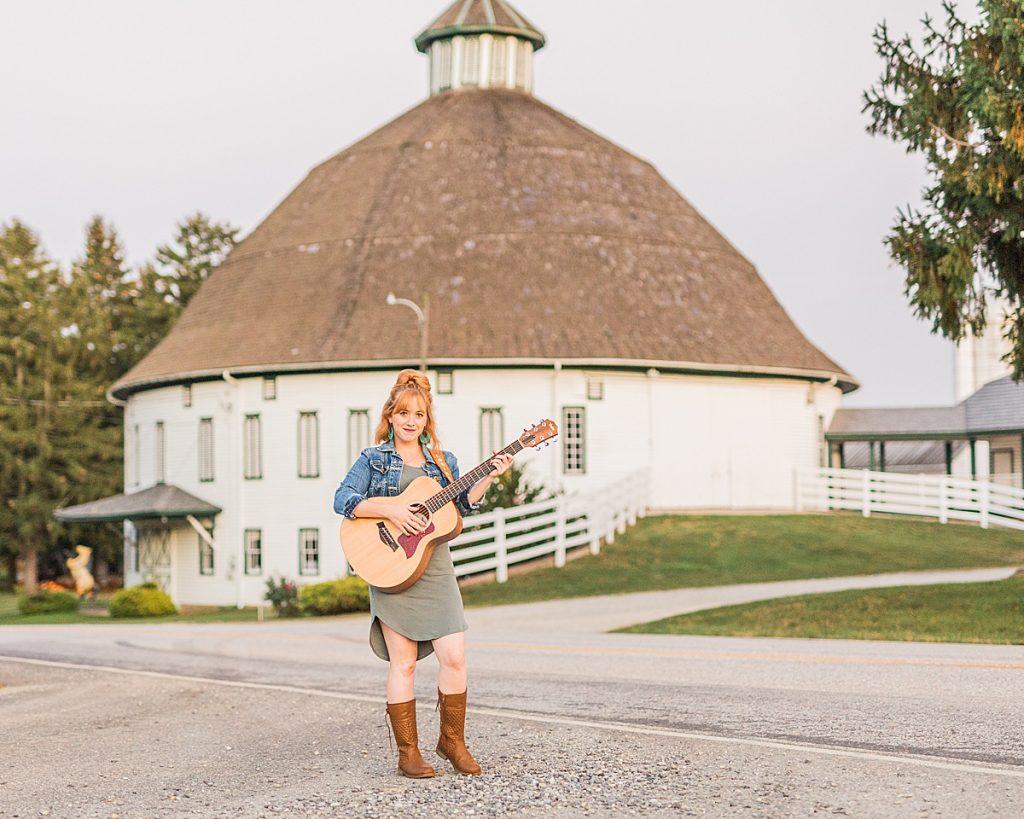 Olivine Fox - Gettysburg Pennsylvania Photographer - Central Pennsylvania Musician Photography - Orchard Photos - Fall Photos - Carlisle - Mechanicsburg - Harrisburg - Acoustic Guitar - Country Music - Historic Round Barn - Biglerville Pennsylvania