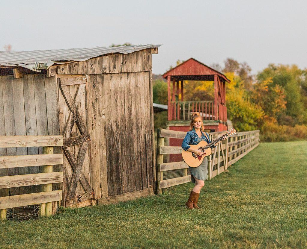 Olivine Fox - Gettysburg Pennsylvania Photographer - Central Pennsylvania Musician Photography - Orchard Photos - Fall Photos - Carlisle - Mechanicsburg - Harrisburg - Acoustic Guitar - Country Music - Historic Round Barn - Biglerville Pennsylvania - Corina Rose