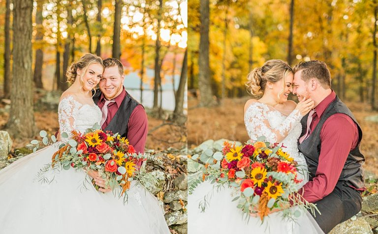 Olivine Fox - Gettysburg Pennsylvania Wedding Photographer - Caboose Farm Maryland Fall Wedding - Sunflower Bouquet - Farm Wedding Inspiration