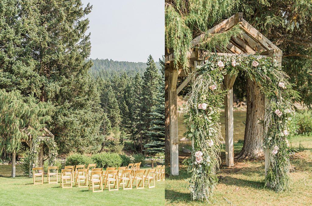 Olivine Fox - Big Sky Montana Elopement Photographer - Bozeman Montana Wedding Photographer - Rainbow Ranch Lodge - Floral Arch Inspiration - Katalin Green Flowers